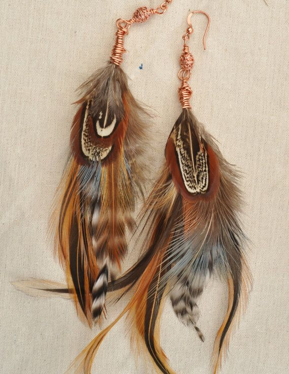 Long Feather Earrings Wire Wrapped Copper Beads Boho Chic Gypsy-Allie