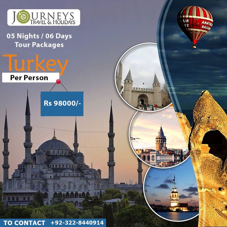 TURKEY: ➢ 05 Nights Hotel Accommodation in Istanbul at 3*** Hotel  ➢ Half Day Istanbul City Tour with Guide and Transfers  ➢ Return Air Ticket (Economy Cass)  Package Price PKR 98000/- per person   For More Information and Booking. Contact: 0322-8440914 & 042-35955448