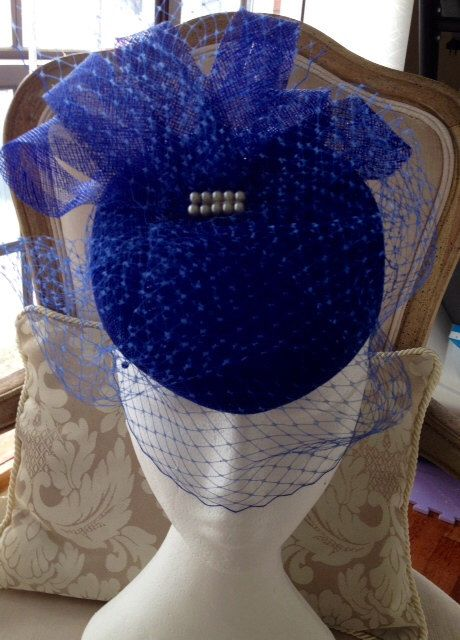 Royal blue pillbox shaped fascinator with royal blue sinamay loops and veiling! by CanteringDesigns on Etsy https://www.etsy.com/listing/204186954/royal-blue-pillbox-shaped-fascinator