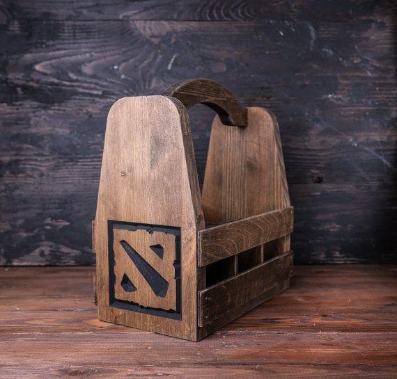 DOTA 2 Wood Beer Carrier, Beer tote, Beer caddy, Bottle carrier, groomsman gift…