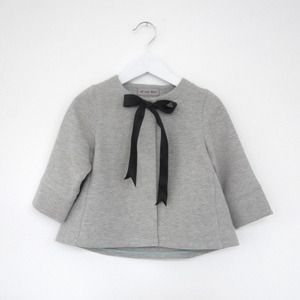tiny gray coat with black ribbon bow #adorbs