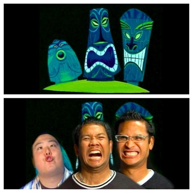 The three tiki heads in the fish tank are actually modeled after three pixar employees, Peter Sohn, Nelson Bohol and Ricky Nierva:
