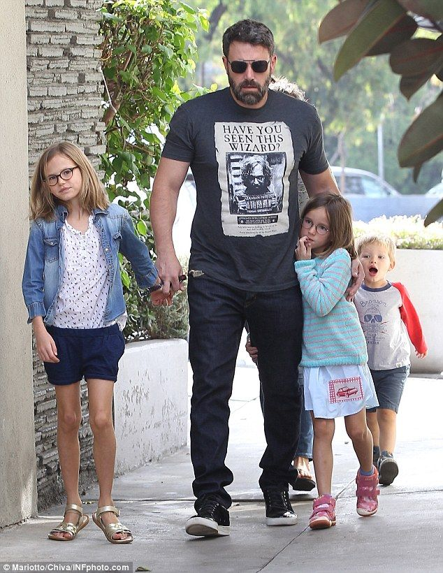 On daddy duty: Ben Affleck visits the local farmers market with his children Seraphina, ni...