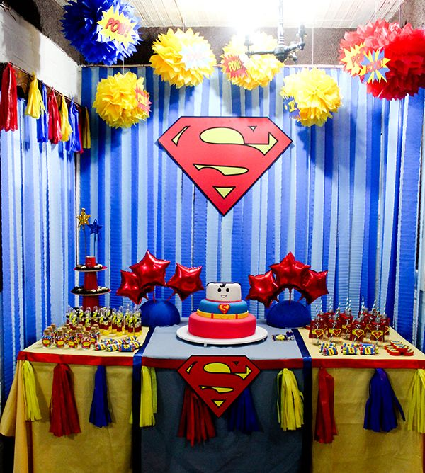 Resultado de imagem para decoração festa superman