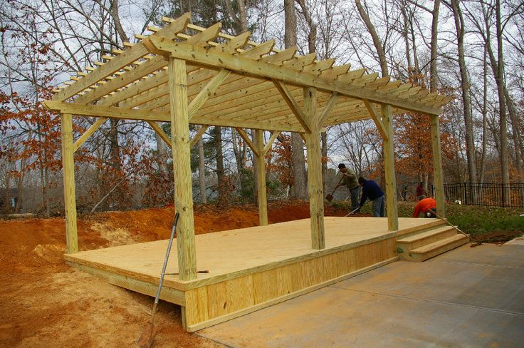 32 best images about build a free standing deck on for Diy free standing pergola