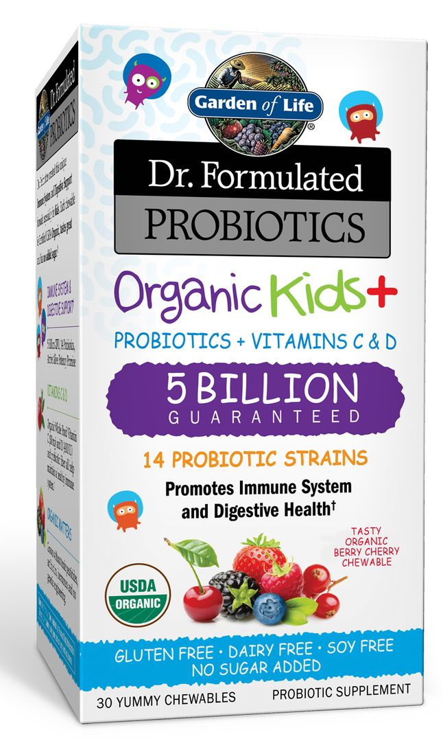 Garden of Life Dr. Formulated Organic Kids Probiotics promote immune & digestive system support with 14 probiotic strains + vitamins C & D, no added sugars.