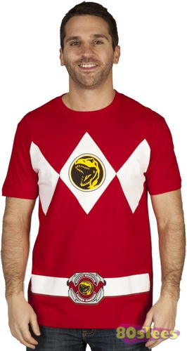 This Mighty Morphin Power Rangers Costume t-shirt is based on the uniform worn by the Red Ranger a.k.a. Rocky DeSantos.  The Tyrannosaurus Power Coin is featured both on the belt and the chest area.