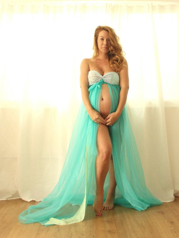 Maternity Gown Photo Prop Shabby Chic Tattered Gender Reveal- many colors on Etsy, $98.00