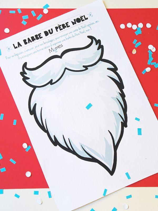 Barbe de Père Noël à imprimer