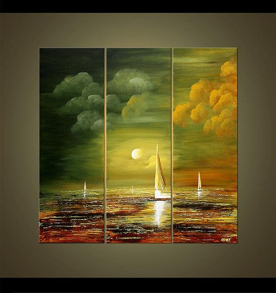 Sailboat Abstract Seascape Painting Original Olive by OsnatFineArt, $819.00