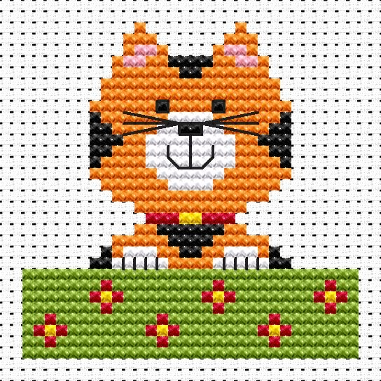 Sew Simple Cat cross stitch kit [SS-CA] Ideal for beginners however please ensure young stitchers are supervised.  These kits introducing symbols on to charts, but still with colour blocks, for those who are learning how to cross-stitch. Finished size approx 6.9cm x 6.9cm. Kit contains11ct white aida fabric, stranded embroidery cotton, needle, colour chart and instructions. A brand new kit will be sent directly to you by Fat Cat Cross Stitch - usually within 2-4 working days © Fat Cat Cr...