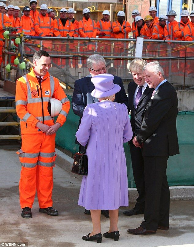 The Queen spent time chatting with Boris Johnson and Patrick McLoughlin before her tour of the site