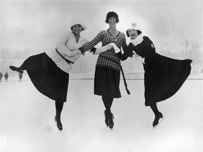 First Winter Olympics, figure skating Figure skaters at the 1924 winter Olympics in Chamonix, France, 30th January 1924.