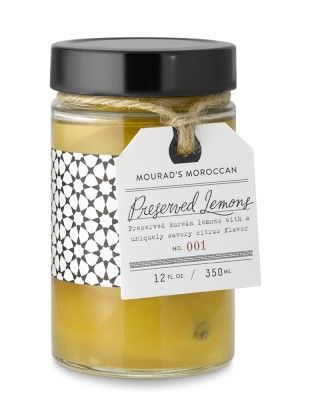 """Preserved lemons are Morocco's """"national anthem of flavor.Developed by Mourad exclusively for Williams-Sonoma, our recipe calls for pickling Eureka lemons in a brine of lemon juice, salt and water for 30 days, which creates a silken texture and a distinctive salty-tart flavor. Hand packed into jars, the lemons are a versatile seasoning and provide an immediate boost of flavor to everything from tagines, braises, soups, sauces and vinaigrettes to vegetables, pastas and meats."""