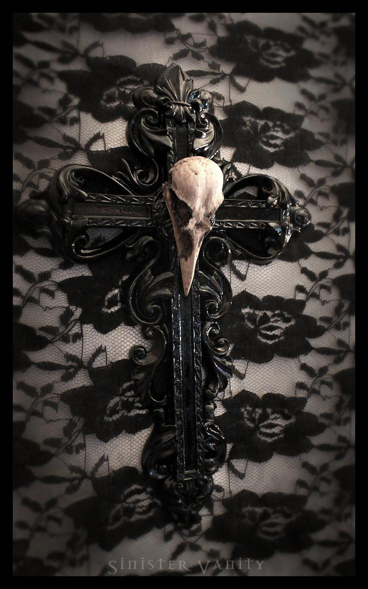 Gothic Cross Crow Skull Goth Ornate Wall Cross Decor I