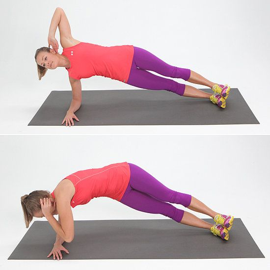 Obliques: Twisting Side Plank side plank- weight on elbow with  fingers reaching away from body, palm down. Place other arm behind  head and inhale to prepare. Exhale and pull your navel to your spine to engage your deep abs and rotate your left ribcage toward the floor. Stay there for a second and deepen your abdominal connection pulling your navel in toward your spine even more.