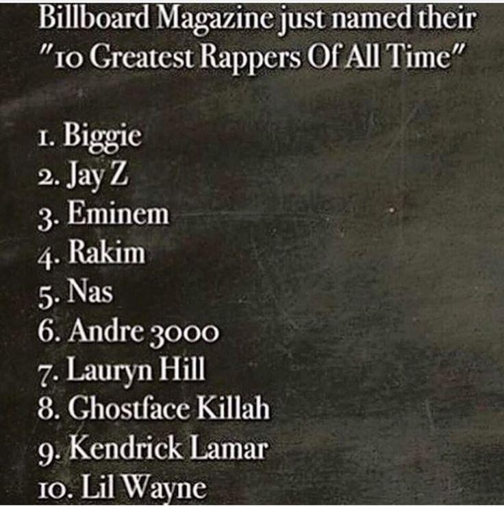 Ummmm....where is #Tupac? #BillboardMagazine #10GreatestRappers #OfAllTime #2015 #FOH
