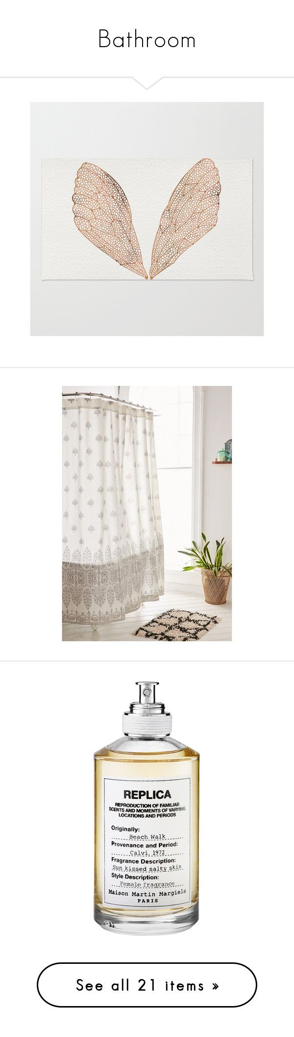 """""""Bathroom"""" by marinavl ❤ liked on Polyvore featuring home, rugs, machine wash rugs, zigzag rug, chevron area rug, patterned rugs, non skid area rugs, bed & bath, bath and shower curtains"""