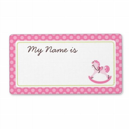 Rocking Horse Girl Name Tag. Baby Shower ...
