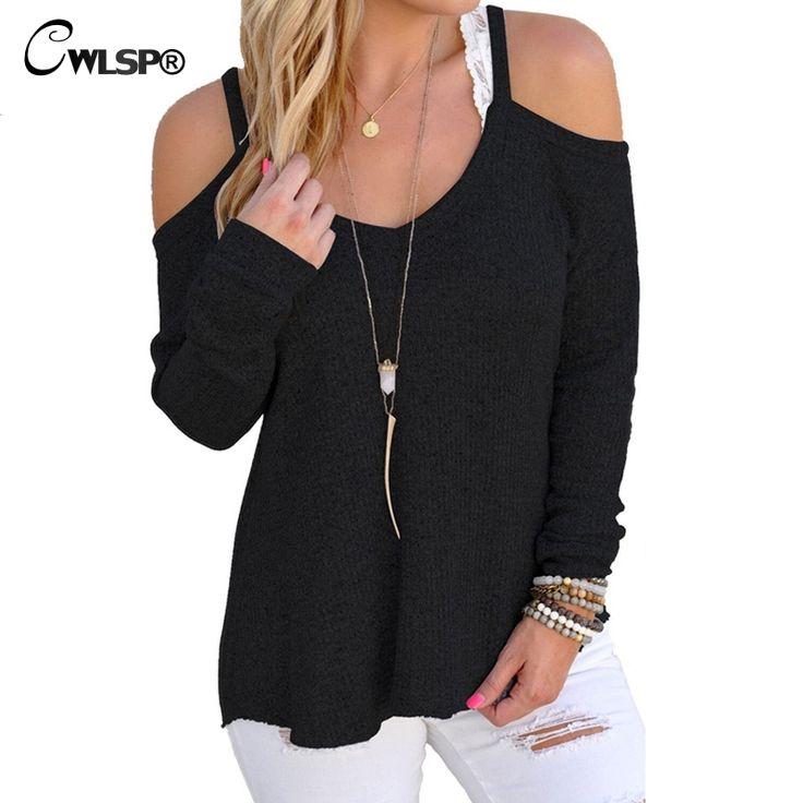 Autumn& Winter T-shirt New Knitting Off Shoulder Women Fashion Back Long tops tshirt sweater gilet femme manche longue QA1419