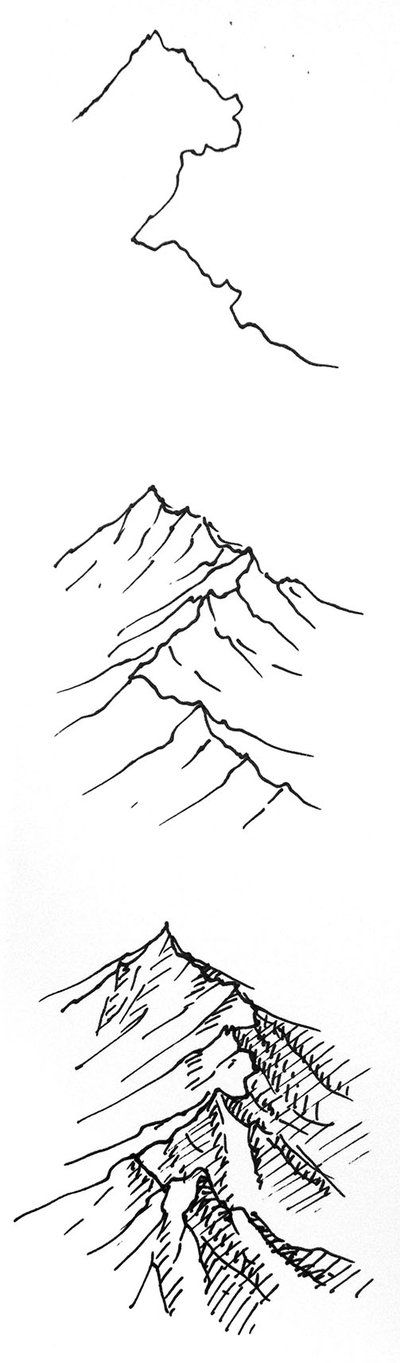 Do you like the vertical format - or would you prefer the landscape version? Right - onto the tutorial. Today, a quick one on isometric pen and ink mountain ranges. 1. The Ridgeline Draw in the rid...