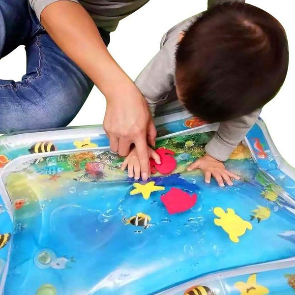 Shark Print Baby Inflatable Water Cushion Play Water Pad In 2020 Tummy Time Mat Tummy Time Water Play For Kids