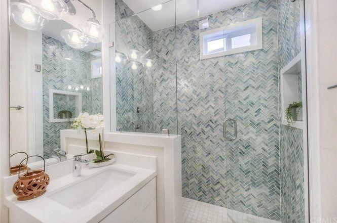 Flip or Flop Laguna Beach house bathroom. Tile is gorgeous