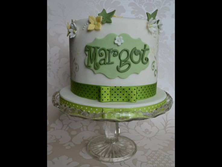 Green themed birthday cake