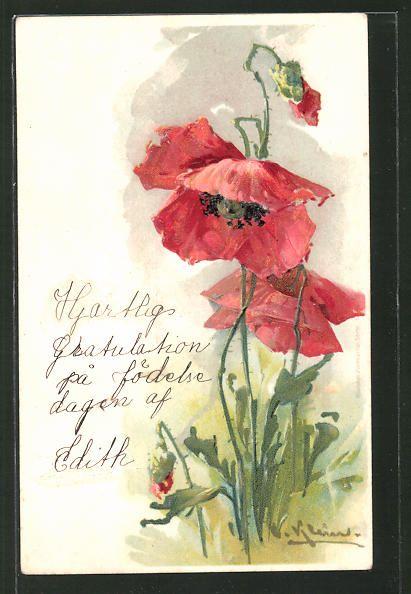 8f134f7b34b cartolina antiche  Präge-Künstler-Lithographie Catharina Klein  blühender  Mohn