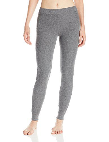 Cuddl Duds Women's Thermal Legging Pant, Charcoal Heather, Medium