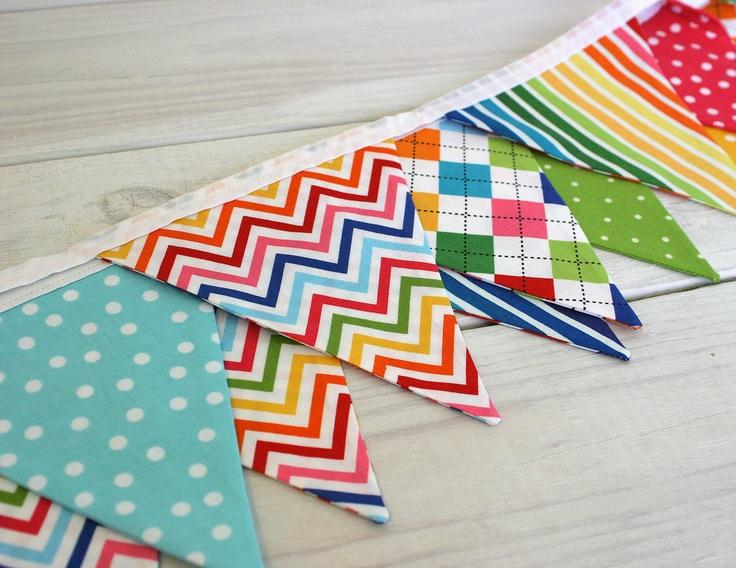 Birthday Decoration Fabric Bunting Fabric Banner - Rainbow Chevron Dots and Argyle. via Etsy.