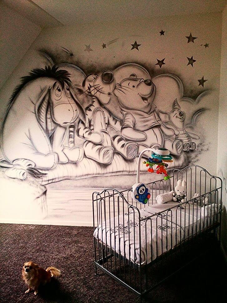 Mooie muurschildering voor de babykamer!