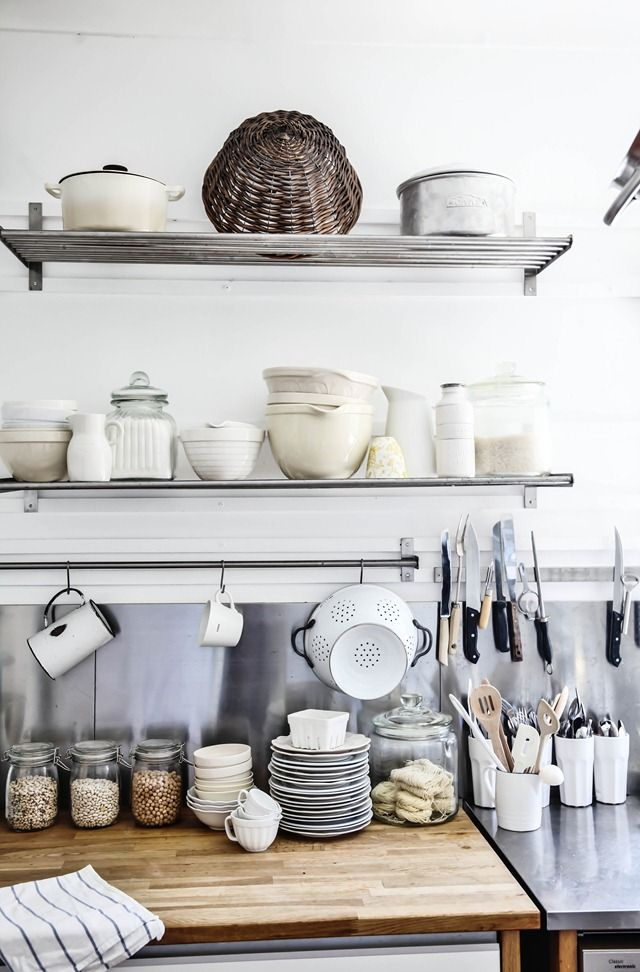 Dream Kitchen - A Beach Cottage  Would love to replicate in our new farmhouse, pared back palette, industrial/French/simple