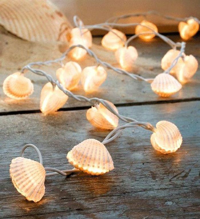 que faire avec des coquillages, guirlande lumineuse idéale pour Noel