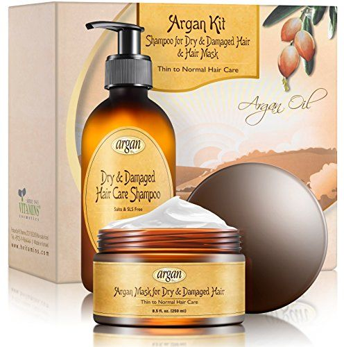 Deep Conditioner  Moroccan Argan Shampoo Kit  Thin Fine to Normal Dry Damaged Hair  Exclusive Herbal Oils Complex  Hair Mask 85 oz and Salt Free Shampoo 101 oz Set *** Click image to review more details.Note:It is affiliate link to Amazon.