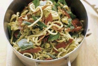 Avocado  crisp prosciutto pasta