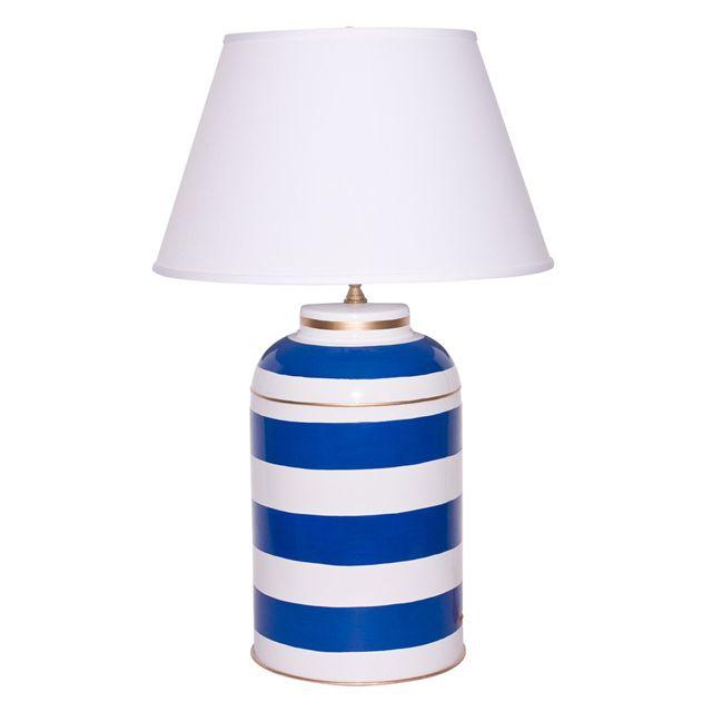 Dana Gibson Stripe Navy Caddy Table Lamp