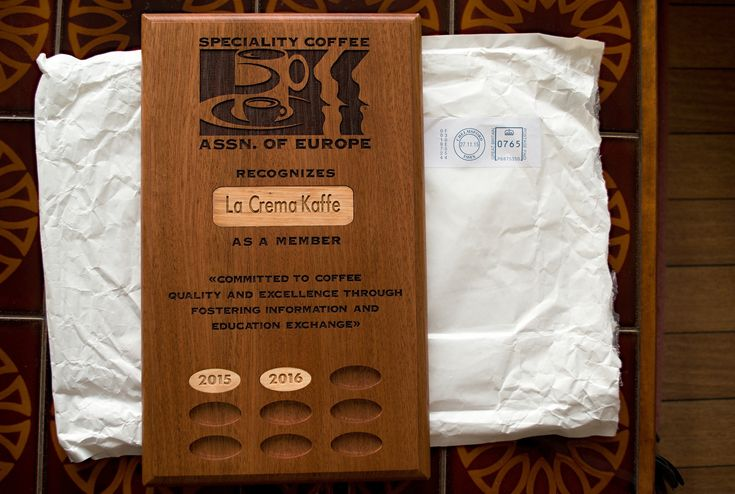 SCAE Plaque for La Crema Kaffe!