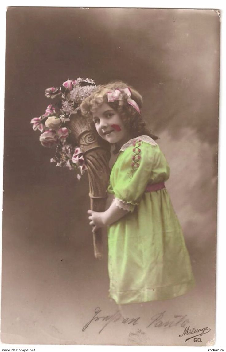 """Postcard """"Girl with flowers"""" France."""
