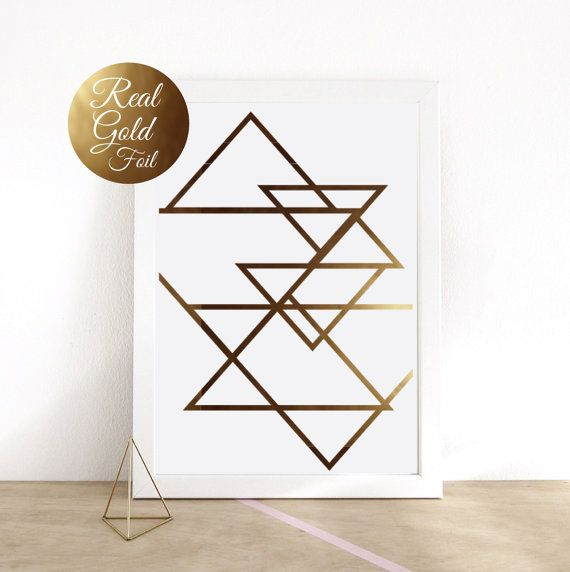Abstract Print Poster Real Gold Foil Gold by LovelyPosters on Etsy