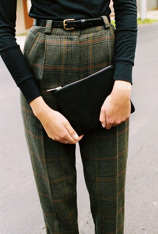 The Alice Ciggie Pants are high waist, masculine tailored pants. They feature a waistband, belt loops, cuffs, pockets and fly front.  * Made in Melbourne - Australia * Colour ;  Green Check * Fabric ; mid weight 100% wool suiting, with a check pattern View care instructions