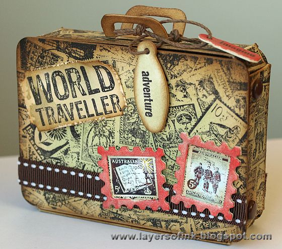 Layers of ink: Postage Stamp Suitcase, made with Eileen Hull's Sizzix Suitcase Bag die, Tim Holtz dies and Darkroom Door stamps.