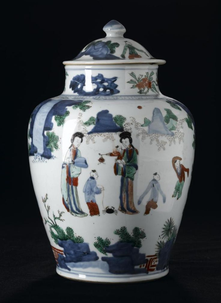 Jar of porcelain, wu t'sai or five-colour ware painted in figure subjects in underglaze blue and overglaze red, yellow, green and aubergine: China, Ming or Ch'ing dynasty, 17th century AD