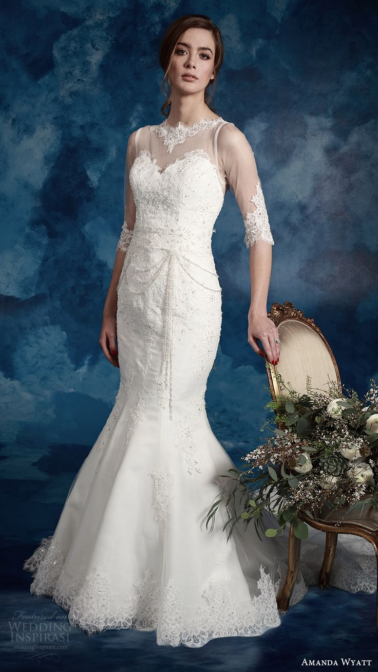 amanda wyatt bridal 2017 illusion 3 quarter sleeves sweetheart illusion jewel neck mermaid lace wedding dress (winter) mv train elegant romantic