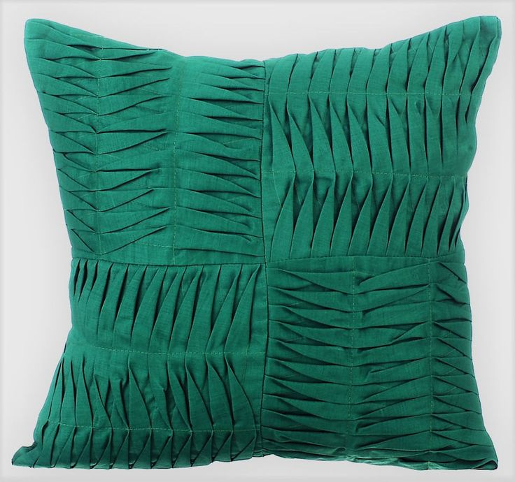 """Green Decorative Pillow Cover,16""""x16"""" Cotton Linen Pillows Cover,Square Textured Pintuck Solid Color Pillow Cases - Dark Green Pintuck Block by TheHomeCentric on Etsy"""