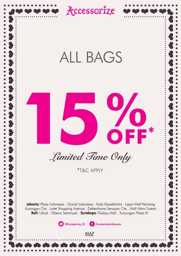 15% OFF for all Accessorize Bags - Don't miss out!
