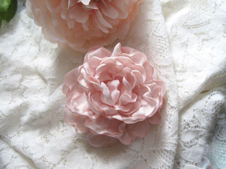 Satin Peony Hair Clip Camellia Flower Corsage Bridal Beach Wedding Party Brooch