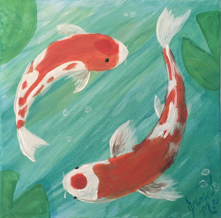 Koi dance beautiful fish painting easy canvas beginner for Koi fish pond for beginners