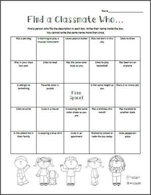 Find a Classmate Who... Back to School Scavenger Hunt | Free Printable from WeAreTeachers