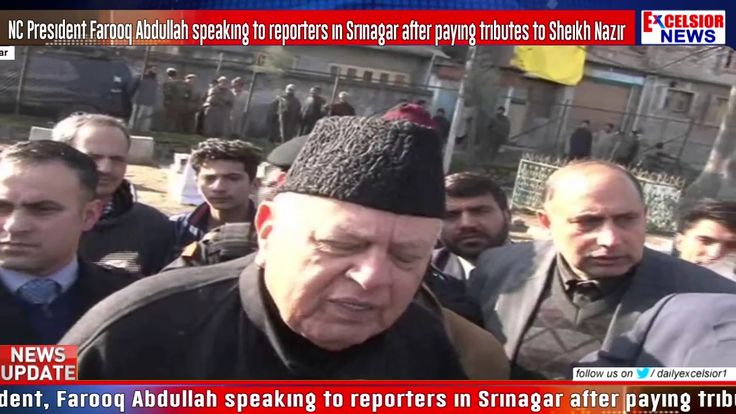 NC President Farooq Abdullah speaking to reporters in Srinagar after paying tributes to Sheikh Nazi